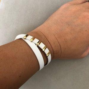 Stella & Dot white leather wrap bracelet